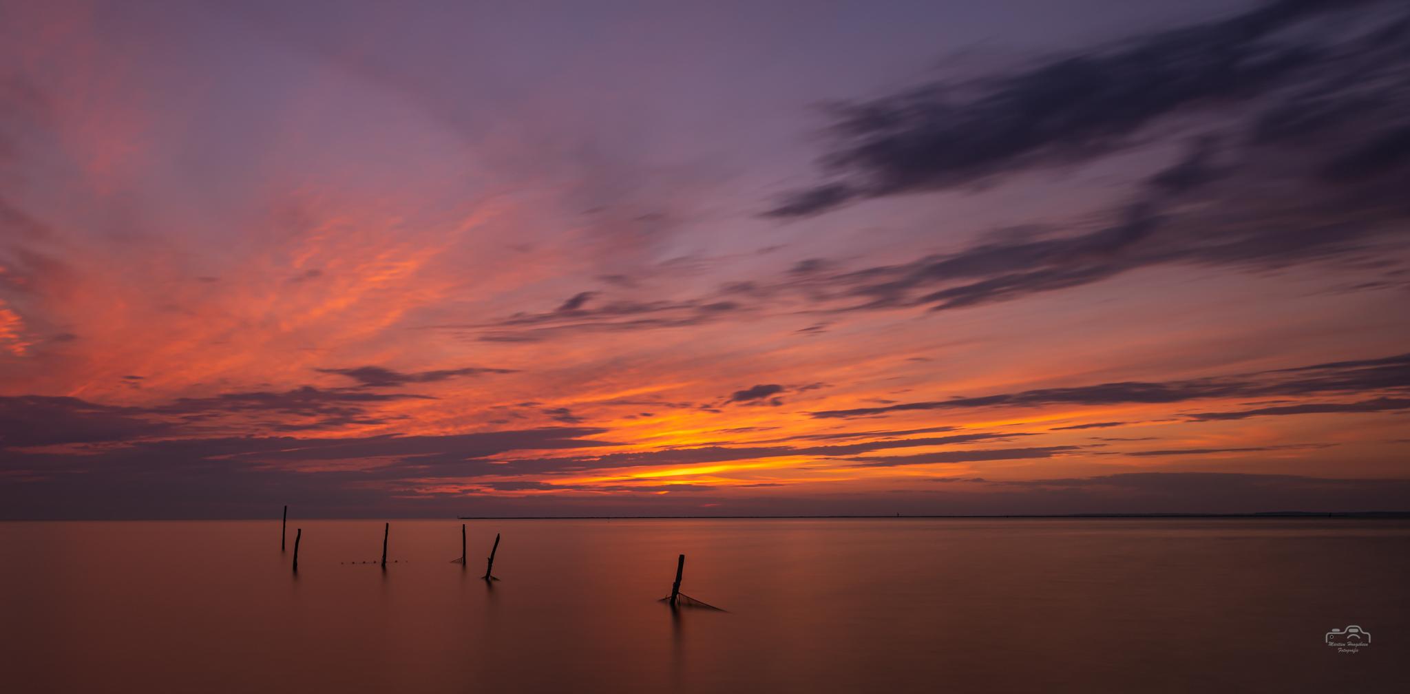 Sunset IJsselmeer in de hittegolf van augustus 2020